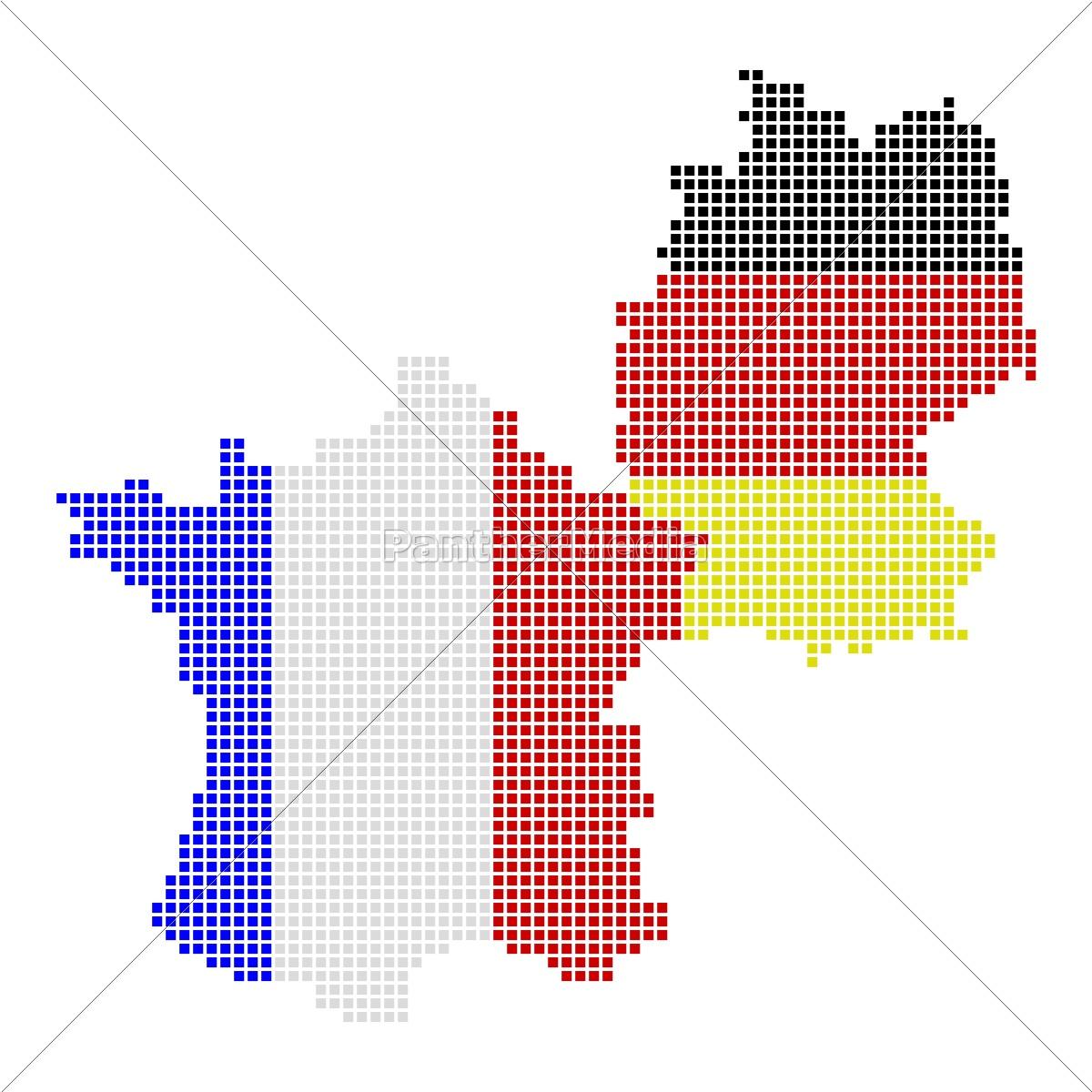 Deutschland Frankreich Karte.Lizenzfreies Bild 10185889 Karten Von Deutschland Und Frankreich In Landesfarben