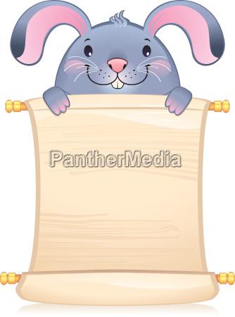 kaninchen mit scroll symbol der
