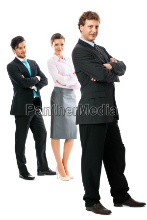 group of team isolated with boss