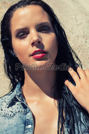 young attractive woman with bikini and