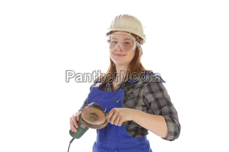 young woman girl in blue overalls