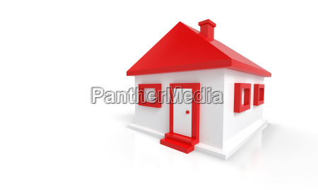 3d house red white