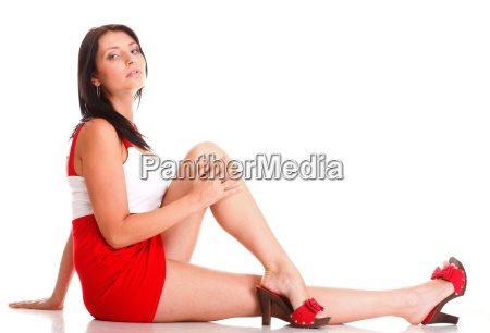 woman in red lying down on
