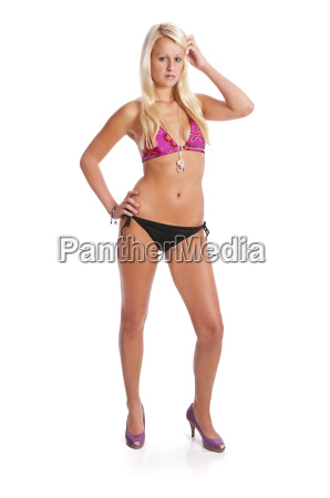blond girl in bikini
