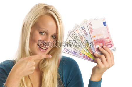 girl blonde with bundles of money