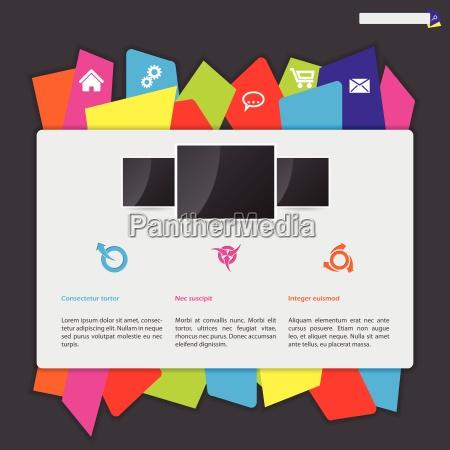website design with color paper label