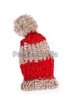 rotgestreifte strickmuetze wooly hat