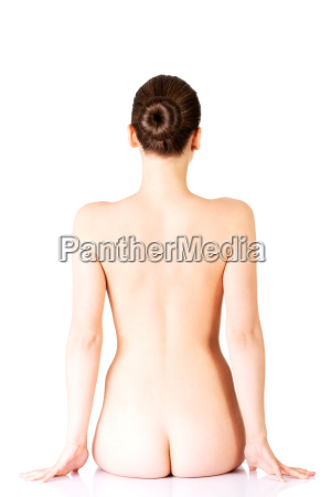 naked woman sitting back view