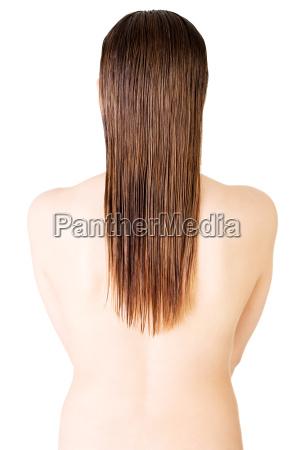 womans back long hair