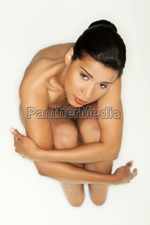 attractive naked woman up front view