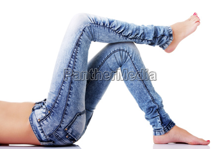 females legs in jeans on the