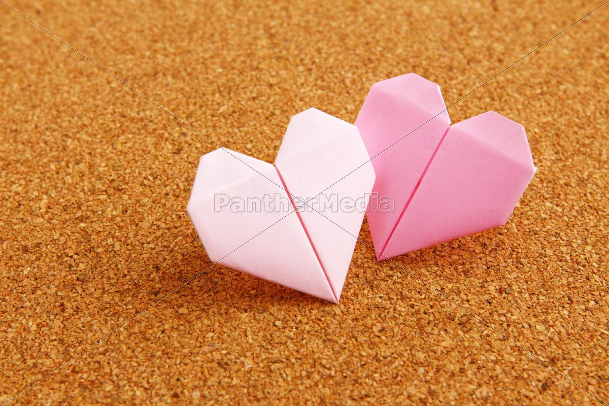 origami, buntes, herz, auf, corkboard - 10250079