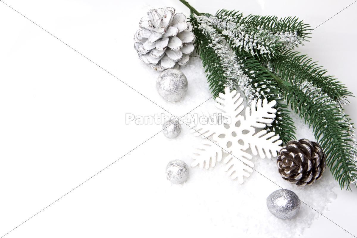 weihnachten dekoration mit tannenzweig tannenzapfen stockfoto 10255191 bildagentur. Black Bedroom Furniture Sets. Home Design Ideas