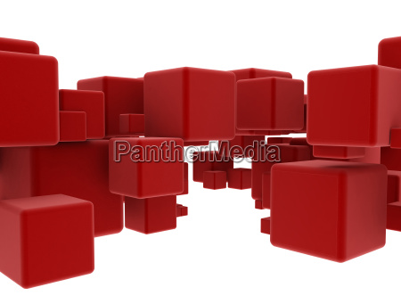 abstract geometry red cubes