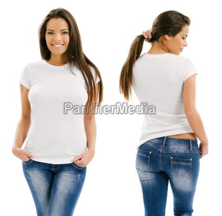 reizvolle frau mit leeren weissen hemd