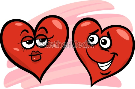 hearts in love cartoon illustration