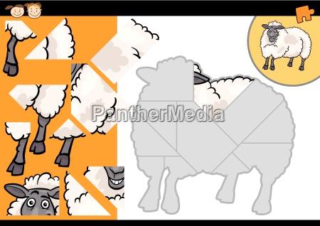 cartoon farm sheep puzzle game