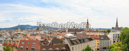 linz panorama of old city austria