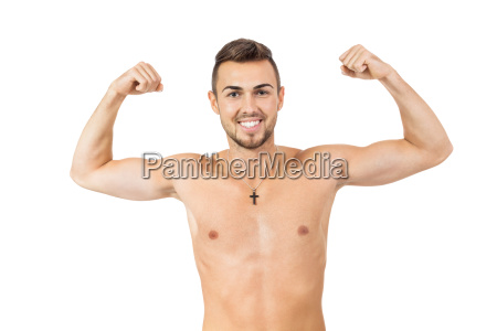 young adult attractive man shirtless