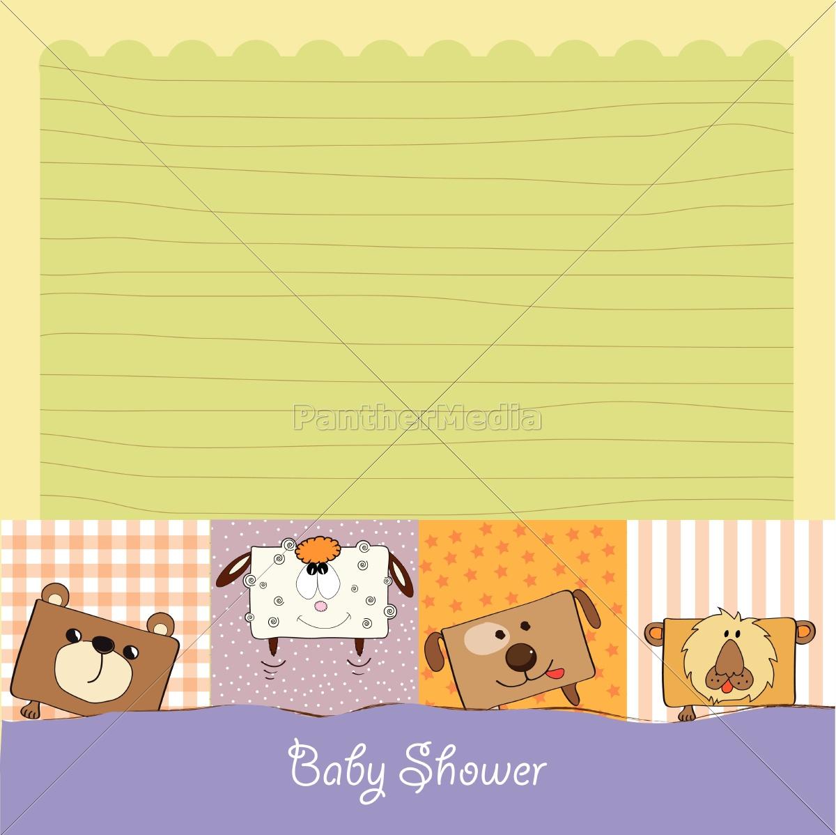 baby-dusche-karte, mit, lustigen, würfel, tiere - 10309049