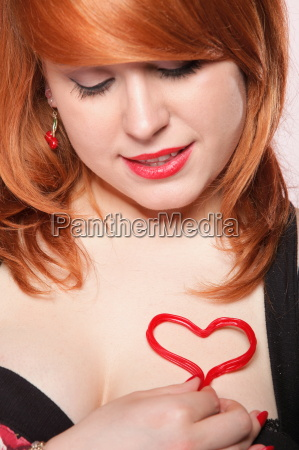 happy redhair girl with heart love