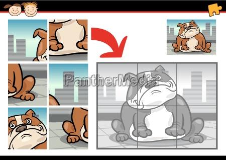 cartoon dog jigsaw puzzle game
