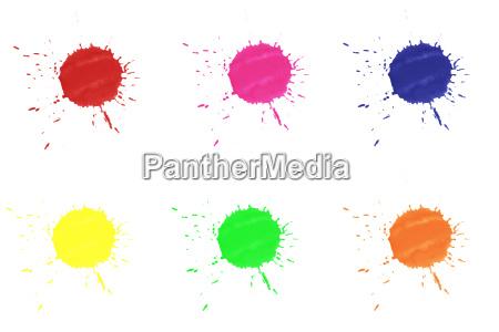 bunte farbkleckse auf weissem hintergrund
