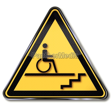 schild rollstuhl treppe und behinderung