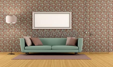 sala de estar con papel tapiz