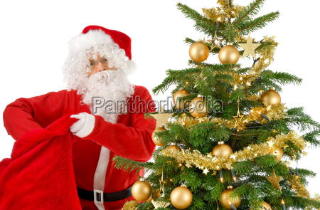 santa claus reaches into his pocket