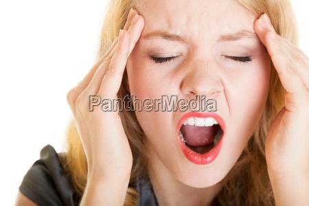 business woman screaming shouting headache pain