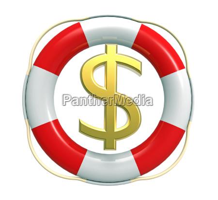 rettungsschwitzen mit dollarzeichen