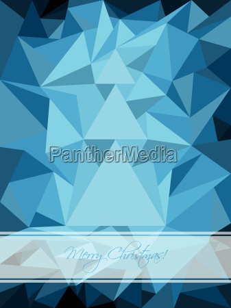 blue christmas greeting with abstract tree