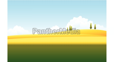 green and yellow landscape with blue