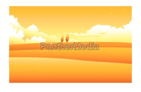 yellow landscape with clouded sky