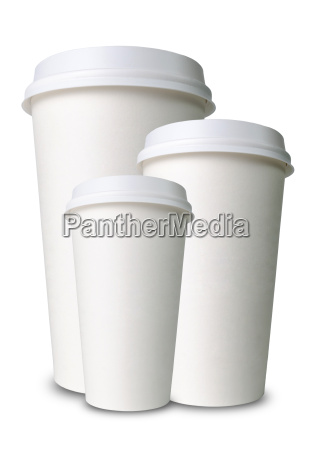 three different sized paper cups in