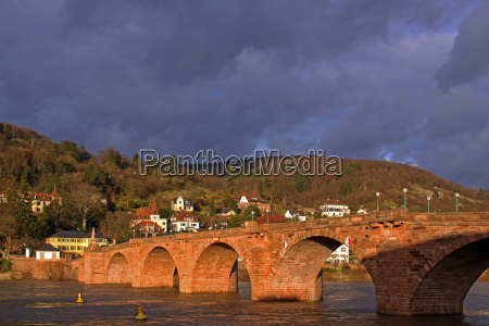 old bridge heidelberg in the evening