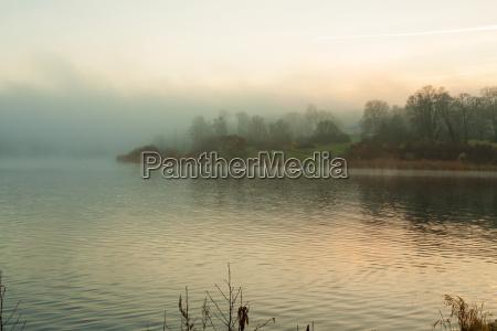 glienicker lake im nebel