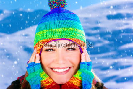 cheerful girl in winter park