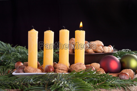 advent first one candle burn flame