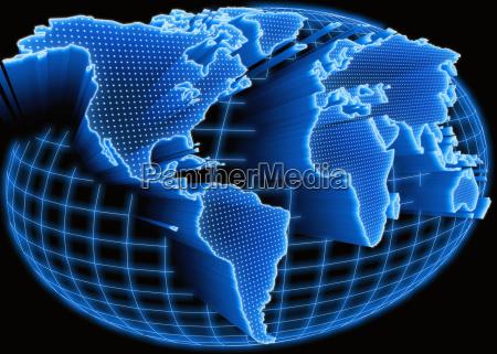 world map illuminated
