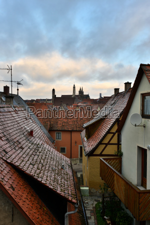 view to the roofs in old