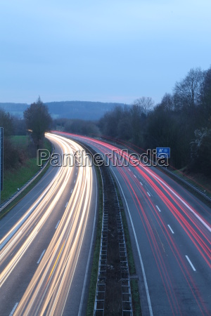 light trails on the highway