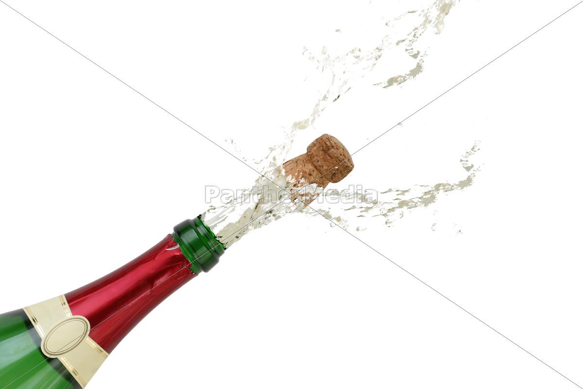 champagner spritzt an silvester aus einer sekt flasche stockfoto 10568571 bildagentur. Black Bedroom Furniture Sets. Home Design Ideas