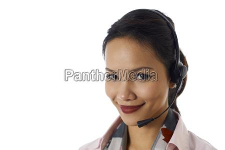 asian girl working as customer service