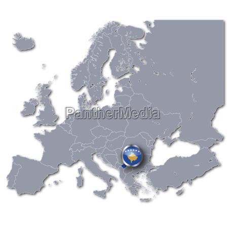 europakarte mit kosovo