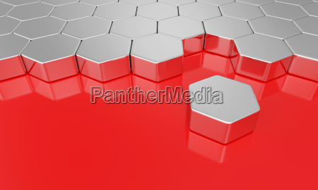 sechseck baustein konzept silber rot