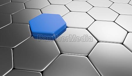 sechseck hintergrund blau silber