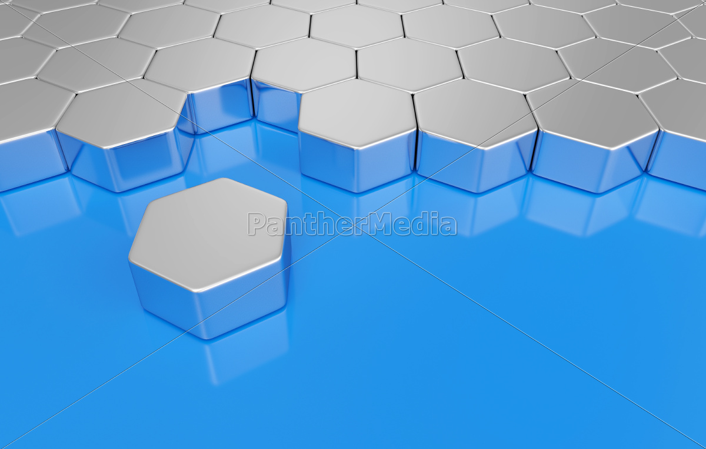 sechseck, baustein, konzept, -, silber, blau - 10583237