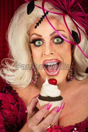 happy woman with cupcake